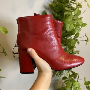 Zara Red Chunky Heel Ankle Boots 38